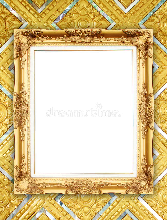 Golden Frame On Thai Style Buddha Wall Stock Photo - Image of ...