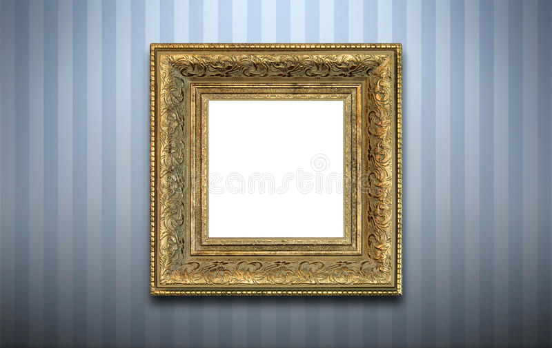 Golden frame on the wall stock photography