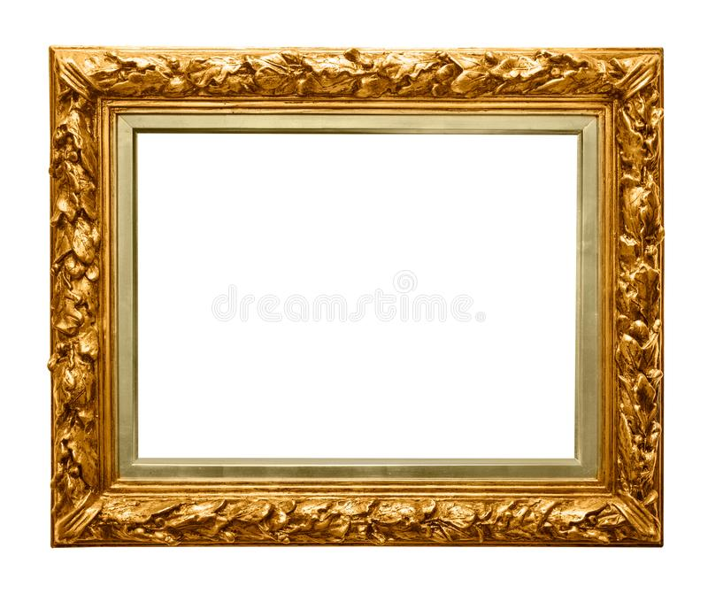Golden frame on white stock images