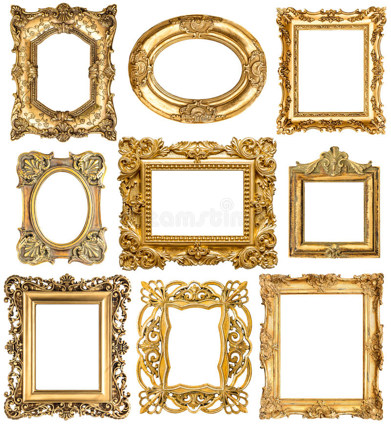 Golden frames. Baroque vintage objects. Antique picture royalty free stock photos