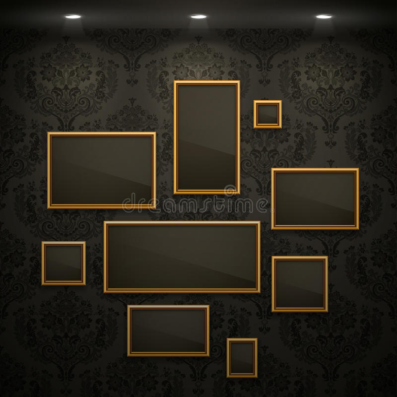 Download Golden Frames On The Wall. Royalty Free Stock Photos - Image: 24554948