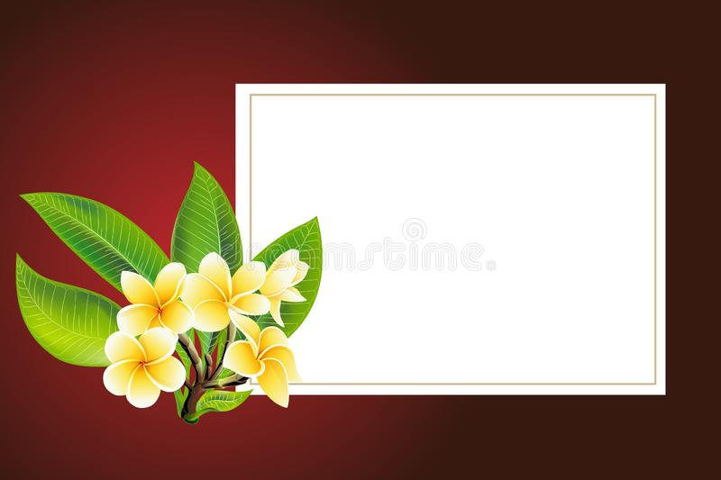 Golden frangipani or plumeria flowers with leaves. Vector invitation Postcard royalty free illustration