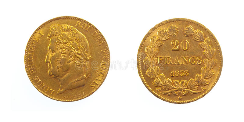 Download Golden French Coin stock image. Image of twenty, coin - 17510575