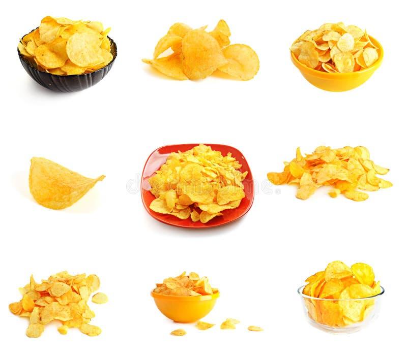 Golden fresh chips stock image