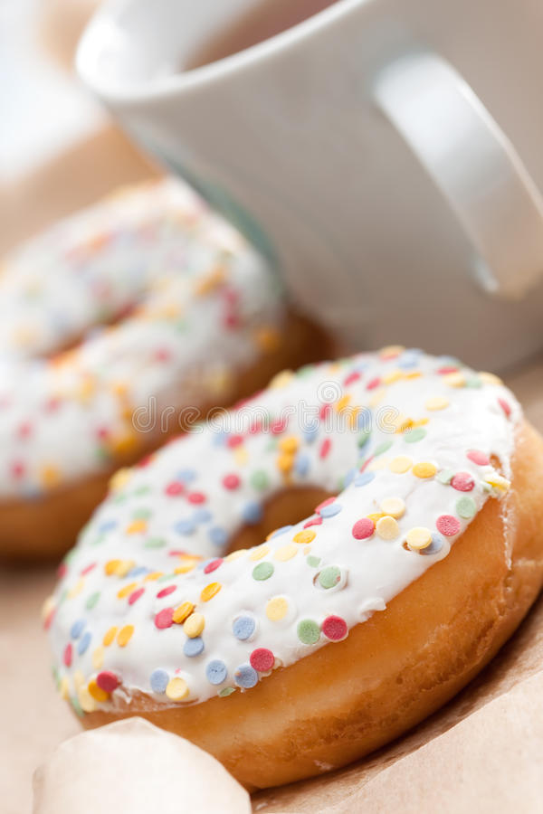 Golden freshly baked doughnut royalty free stock images