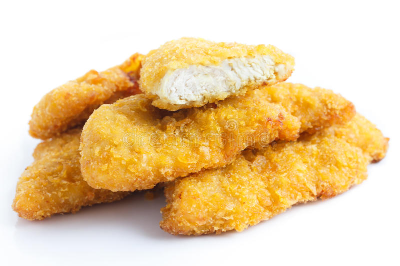 Golden fried chicken strips. royalty free stock photography