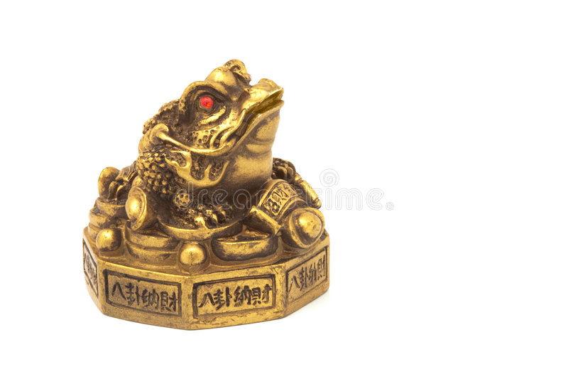 Golden frog with coins royalty free stock images