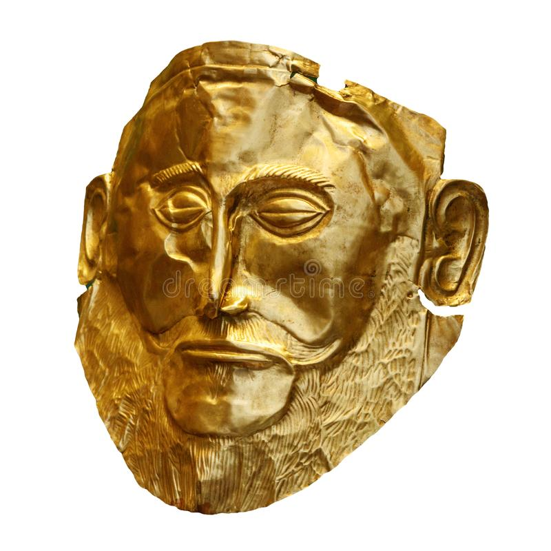 The golden funeral mask of Agamemnon isolated on white royalty free stock photo