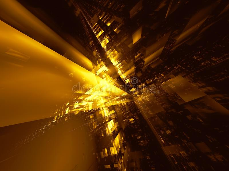 Golden futuristic city or space station - digitally generated 3d illustration. Golden technology, virtual reality or sci fi background - abstract computer royalty free illustration