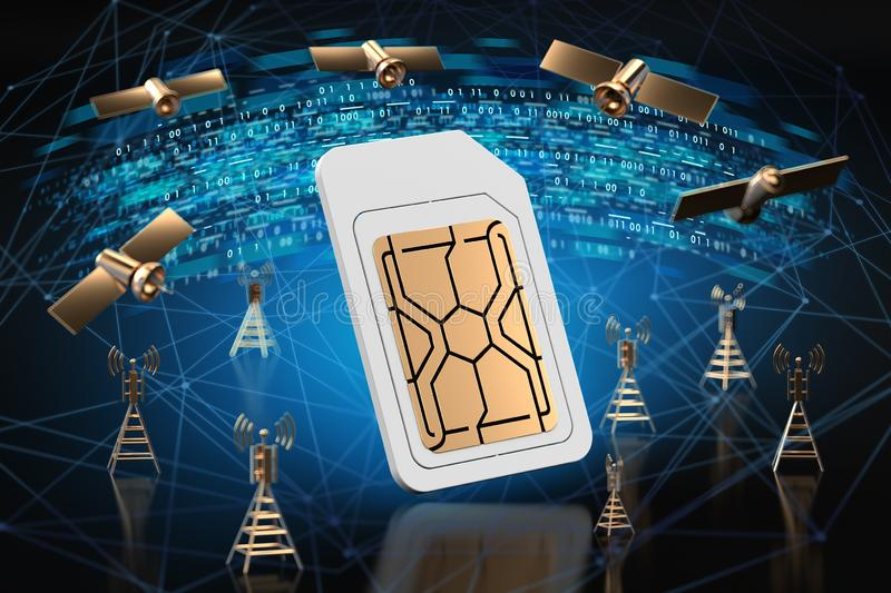 Golden 5G sign and digital data, network nodes and binary behind it. High speed mobile web technology concept. 3D rendering stock illustration