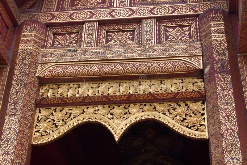 Golden Gable. Details, Thai Buddhist Temple Gable - Chiang Mai, Thailand stock images