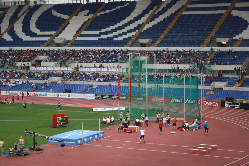 Golden Gala 2011. Sight of the footstep of athletics and the platform of the throwing of the javelin royalty free illustration