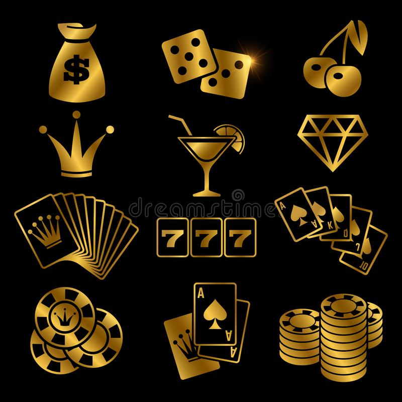 Golden gambling, poker card game, casino, luck vector icons isolated on black background stock illustration