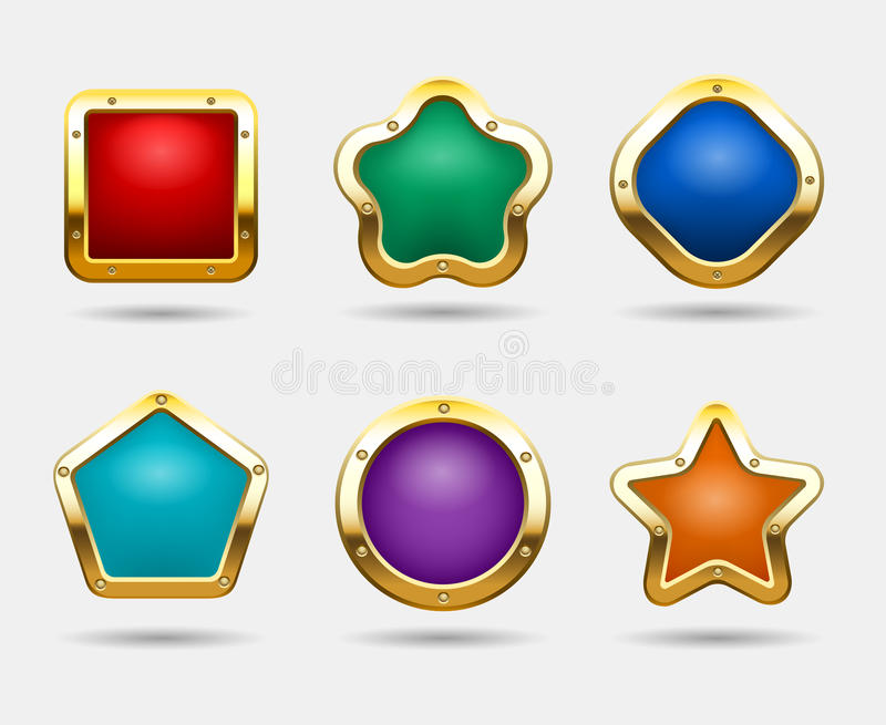 Golden game buttons isolated on white background. Vector candy button frames in shapes of square, circle and star. Colored form glossy pentagon and square royalty free illustration