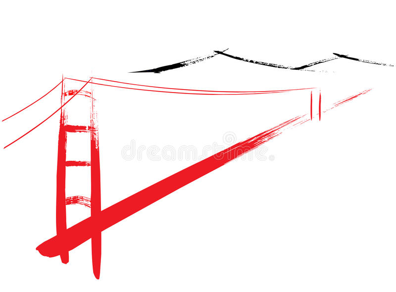 Golden Gate Bridge royalty free illustration