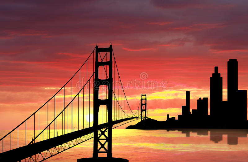 Golden Gate Bridge. On sunset vector illustration
