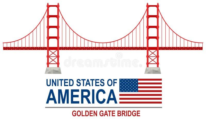 Golden gate bridge America illustrazione vettoriale