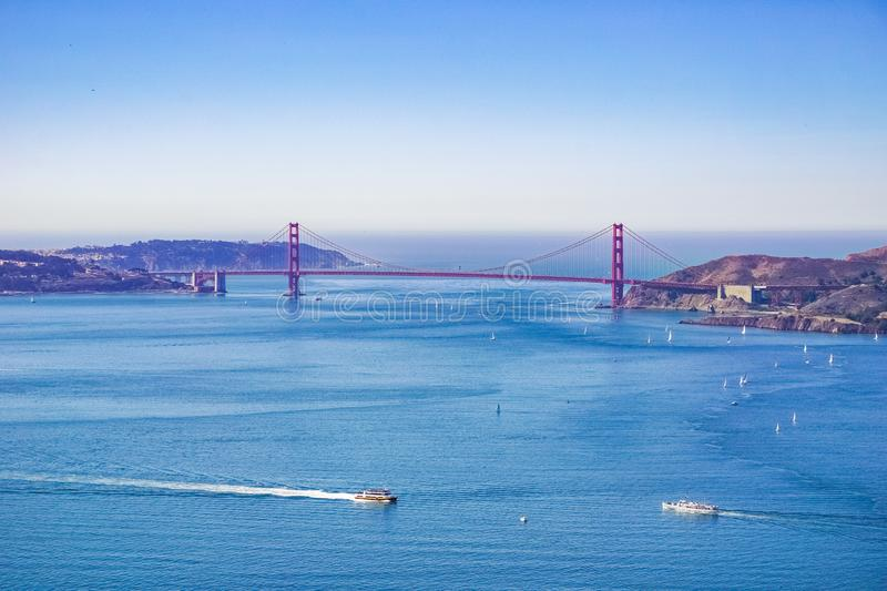 Golden Gate bridge as seen from Angel Island, California royalty free stock photos