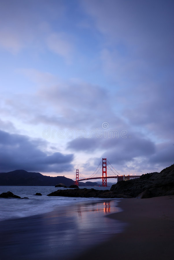 Golden Gate Bridge from Baker Beach. Golden Gate Bridge, taken at dusk from the Baker Beach royalty free stock images