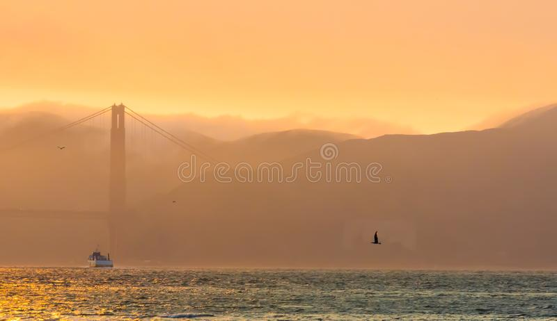 Golden gate bridge bij Schemer met Mist stock afbeeldingen