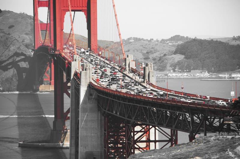 Golden gate bridge in black white and red, San Francisco, California, USA. Golden gate bridge in black white and red in San Francisco bay, San Francisco stock photo