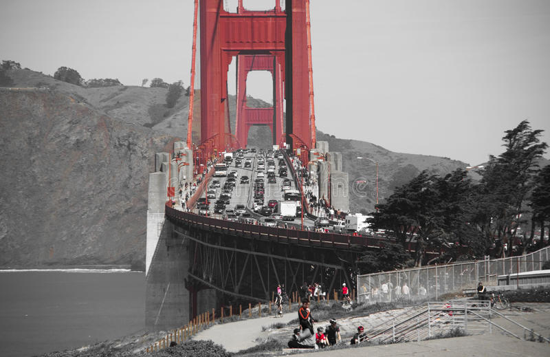 Golden gate bridge in black white and red, San Francisco, California, USA. Golden gate bridge in black white and red in San Francisco bay, San Francisco stock photography