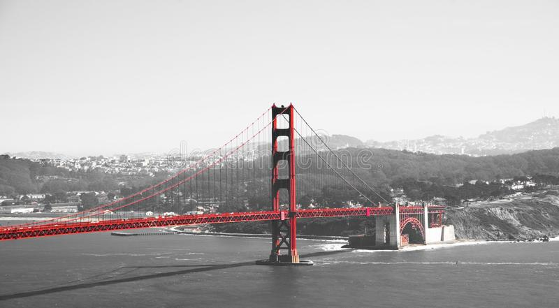 Golden gate bridge in black white and red, San Francisco, California, USA. Golden gate bridge in black white and red in San Francisco bay, San Francisco stock image