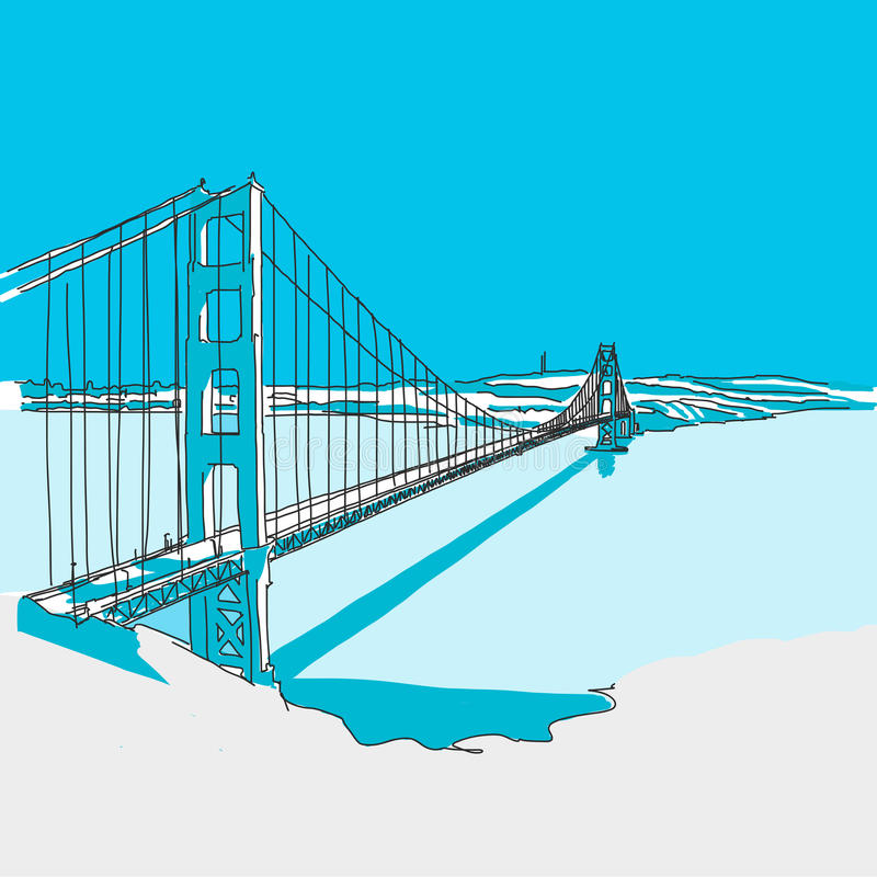 Golden Gate Bridge, Blue Series. Hand-drawn Vector Artwork royalty free illustration