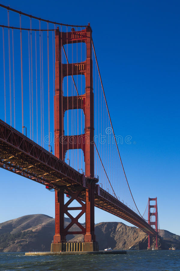 Golden Gate Bridge in California, and the blue sea. Golden Gate Bridge in California, USA and the blue sea and sky royalty free stock photos