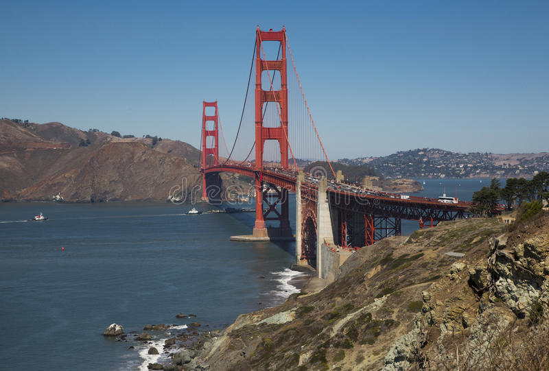 Golden Gate Bridge in California, and the blue sea. Golden Gate Bridge in California, USA and the blue sea and sky stock images