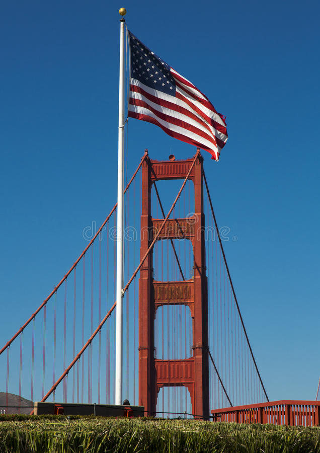 Golden Gate Bridge in California, and the blue sea. Golden Gate Bridge in California, USA and the blue sea and sky royalty free stock images