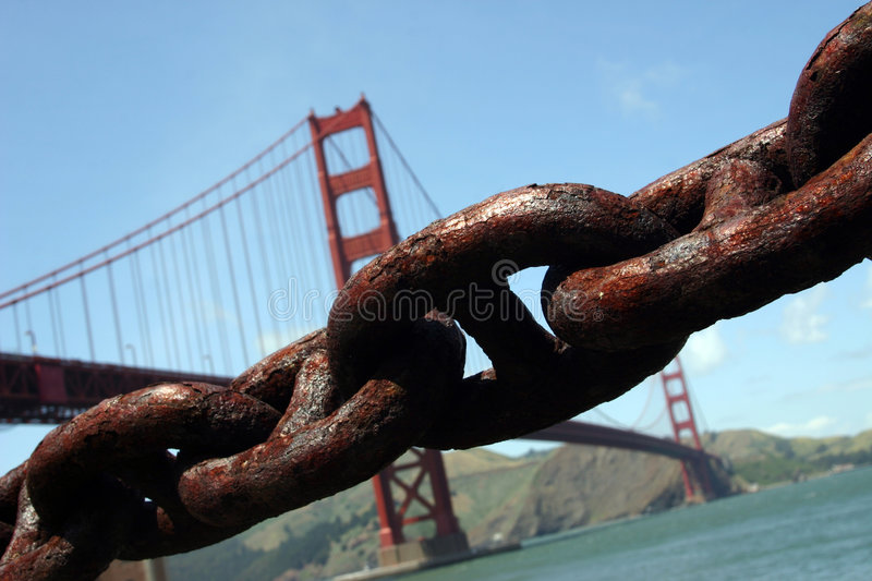 Download Golden Gate Bridge And Chain Stock Image - Image: 978779