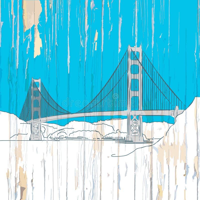 Golden gate bridge che attinge legno illustrazione vettoriale