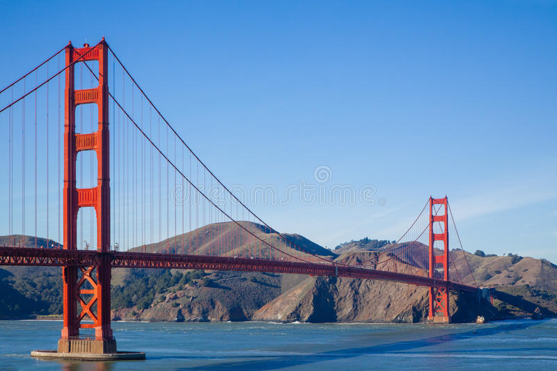 Golden Gate Bridge Classic Photo. This picture is a classic view of the Golden Gate Bridge, taken from the south side in early afternoon. The bridge casts a royalty free stock photography
