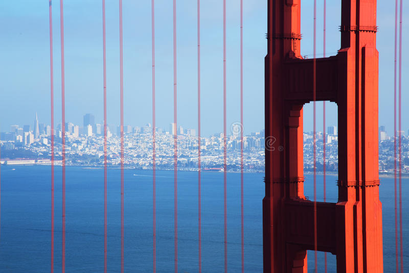 Golden Gate Bridge in Detail with San Francisco in the Background royalty free stock image