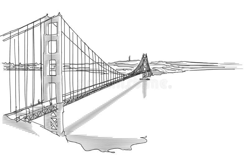 Golden gate bridge disegnato a mano illustrazione vettoriale