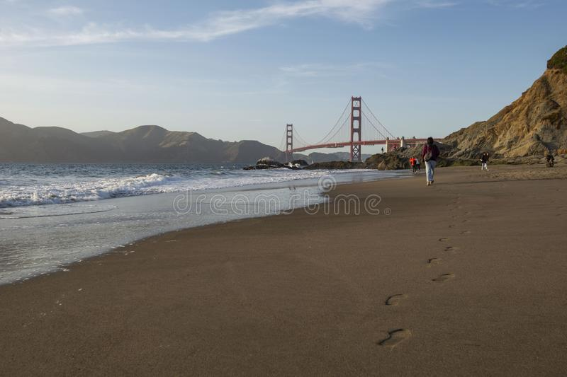 Golden gate bridge do padeiro Beach, San Francisco, Calif?rnia imagem de stock royalty free