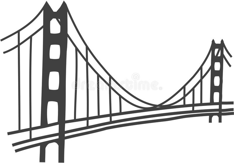 Golden Gate Bridge drawing. Illustration of Golden Gate bridge, San Francisco vector illustration