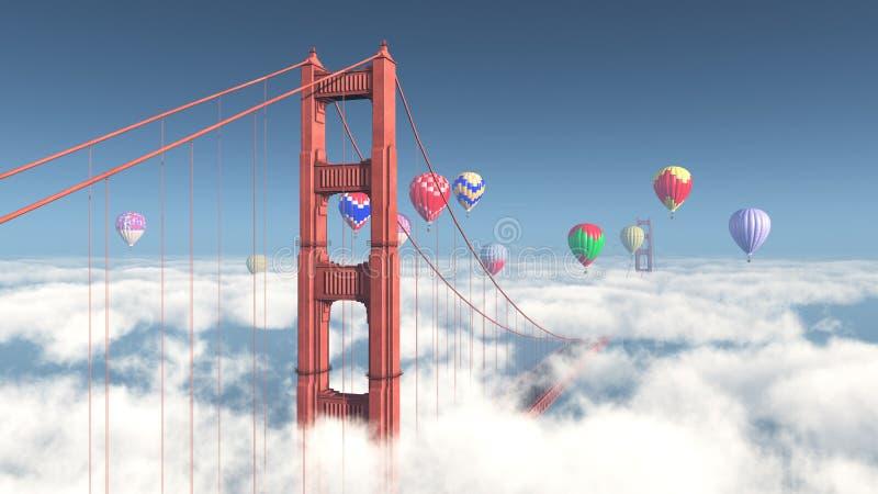 Golden gate bridge e mongolfiere illustrazione di stock