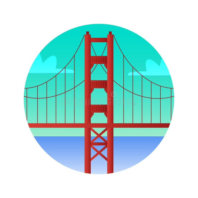 Golden Gate Bridge flat color icon. Sights of San Francisco United States. stock illustration
