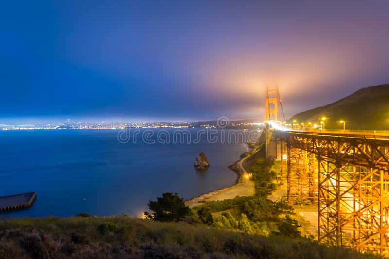 Fog rolls in over the Bay Area royalty free stock image