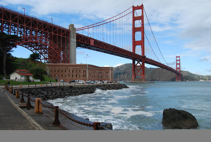 Golden gate bridge & Fortpunt, San Francisco stock foto