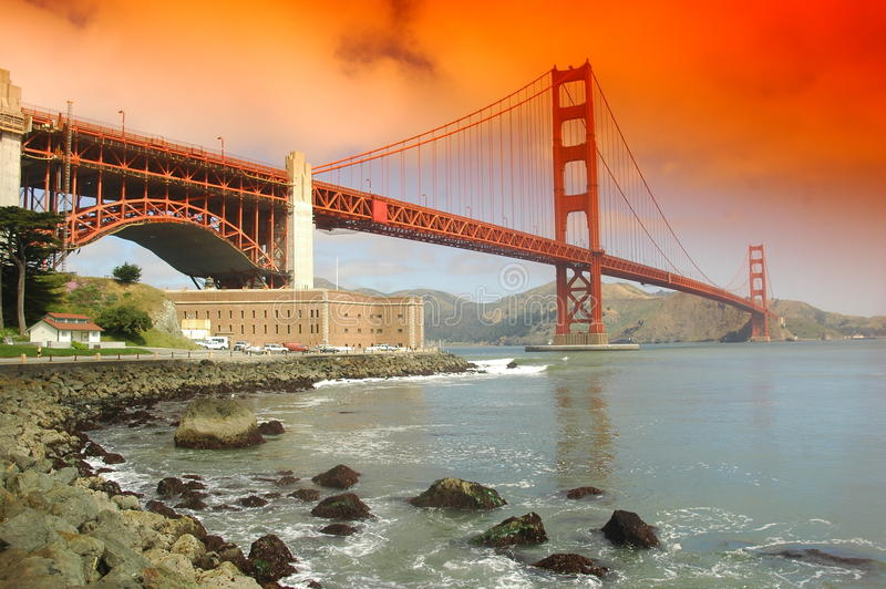 Golden Gate Bridge At Sunset Stock Images