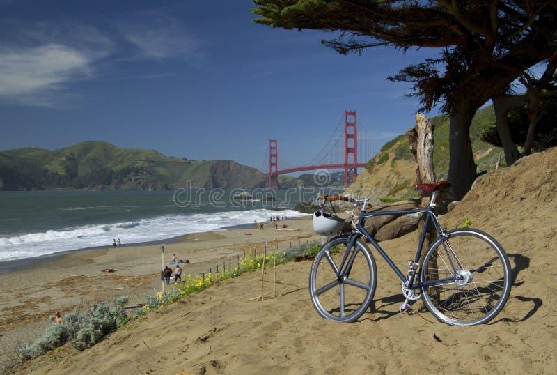 Golden gate bridge with hipster bike, San Francisco, California, USA royalty free stock images