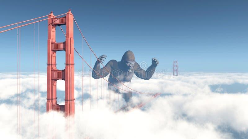 Golden Gate Bridge i Gigantyczny goryl royalty ilustracja