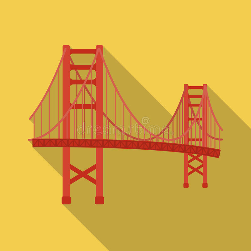 Golden Gate Bridge icon in flate style isolated on white background. USA country symbol stock vector illustration. Golden Gate Bridge icon in flate style royalty free illustration