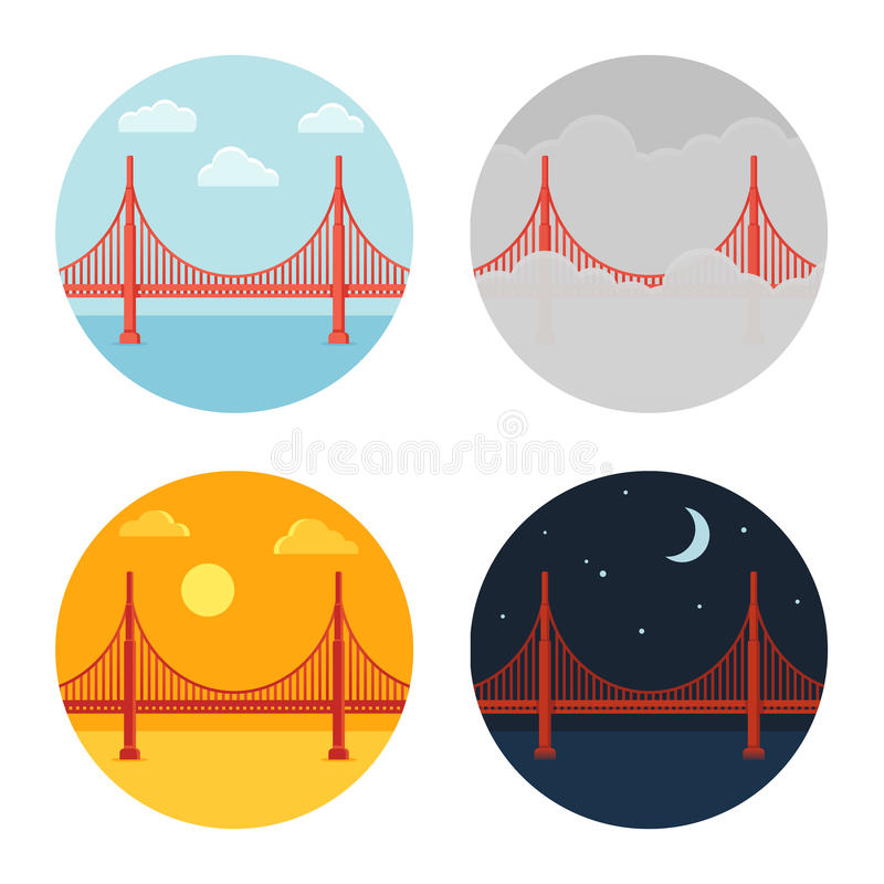 Golden Gate Bridge. Icon set. San Francisco in different time and weather. Flat cartoon vector style royalty free illustration