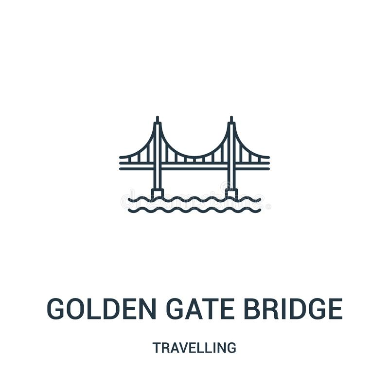 golden gate bridge icon vector from travelling collection. Thin line golden gate bridge outline icon vector illustration. Linear stock illustration