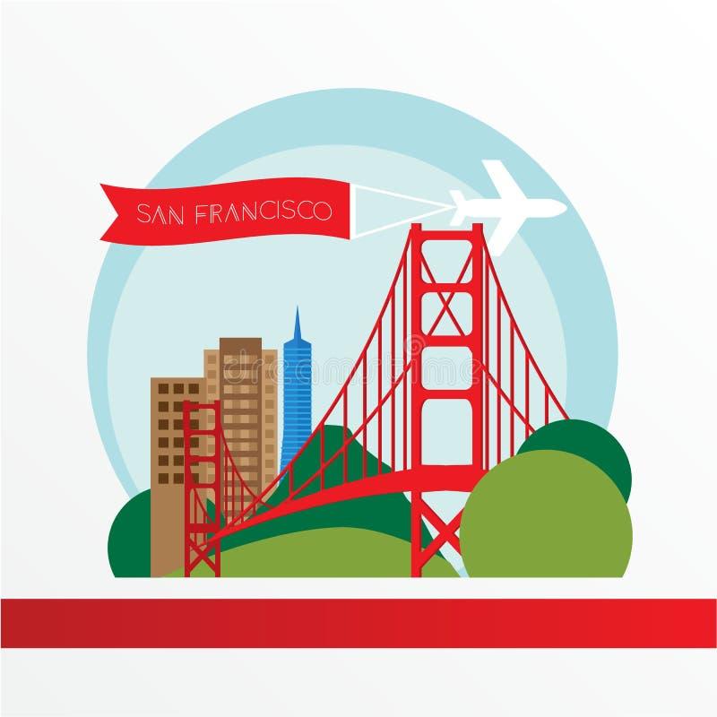 Golden gate bridge - il simbolo degli Stati Uniti, San Francisco Bollo d'annata con il nastro rosso illustrazione vettoriale