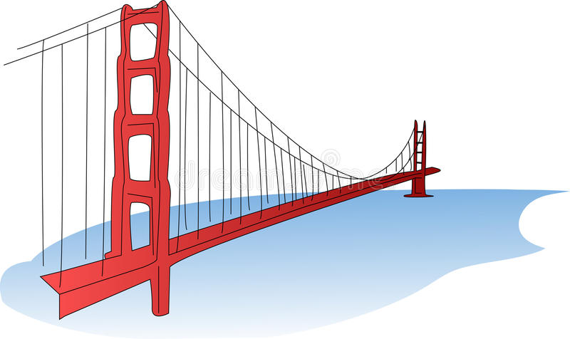 golden gate bridge stock vector illustration of cable 42003854 rh dreamstime com golden gate bridge clipart free Golden Gate Bridge Stencil